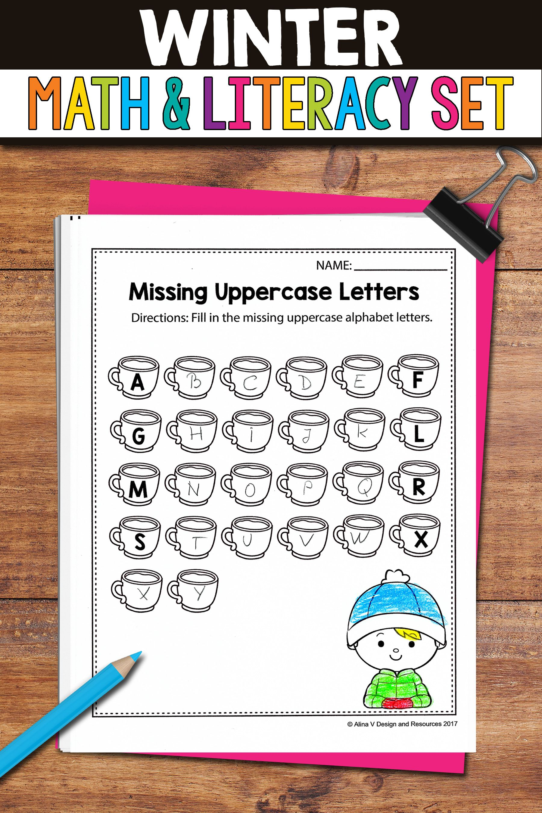 No Prep Winter Math Amp Literacy Activities And Worksheets For Kindergarten Preschool And First