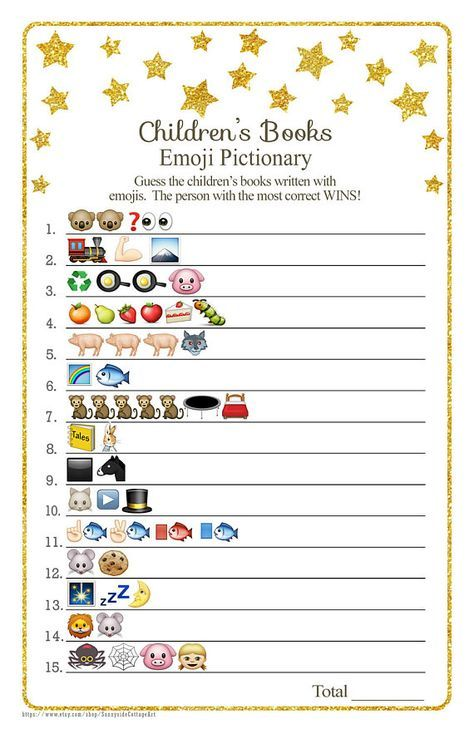Children S Books Emoji Pictionary Game With Whimsical Gold Stars Answers Included Instant Download Diy Printable 85ba In 2020 Storybook Baby Shower Baby Shower Book Baby Shower Games