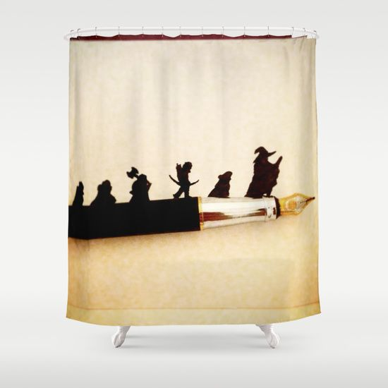 Fellowship Of The Pen Shower Curtain Nerd Room Curtains Shower