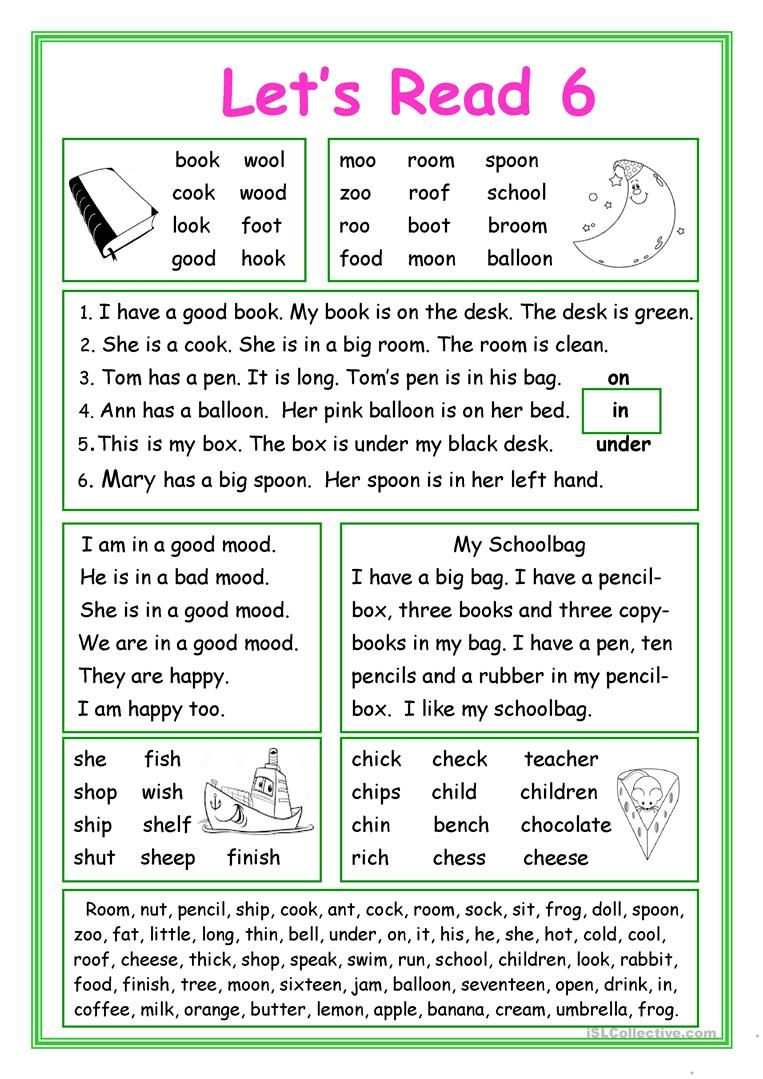 Let S Read 6 Worksheet Free ESL Printable Worksheets