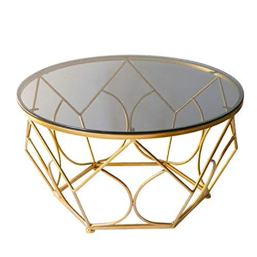 Coffee Table Made Of Solid Metal Frame With An Inlaid Tempered