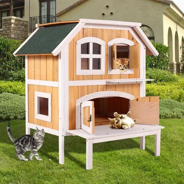 Photo of Tucker Murphy Pet Ranier Casa de madera para gatos al aire libre con portátil | Wayfair