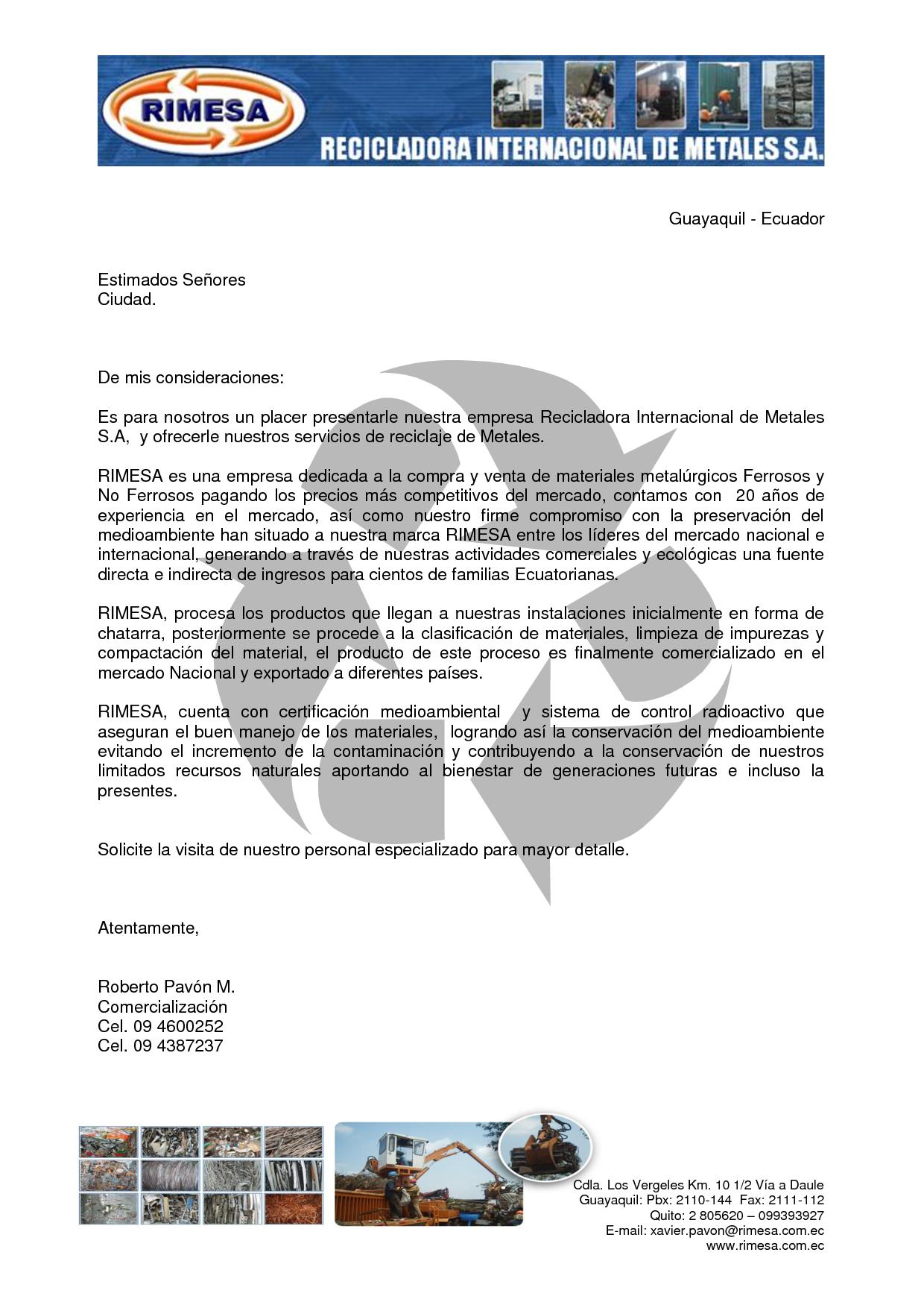 Resultado De Imagen Para Carta De Presentacion De Una Empresa Disenos