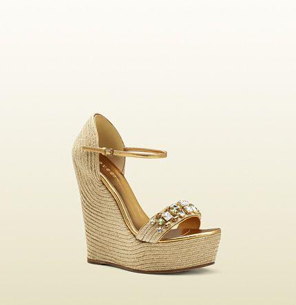 f969b3306 Gucci - sandalia de cuña carolina con cristales | Shoes | Sandalias ...