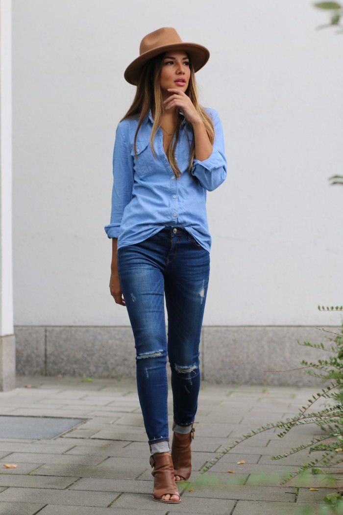 Doble mezclilla en jeans y blusa con sombrero cafe  1fe9116982f