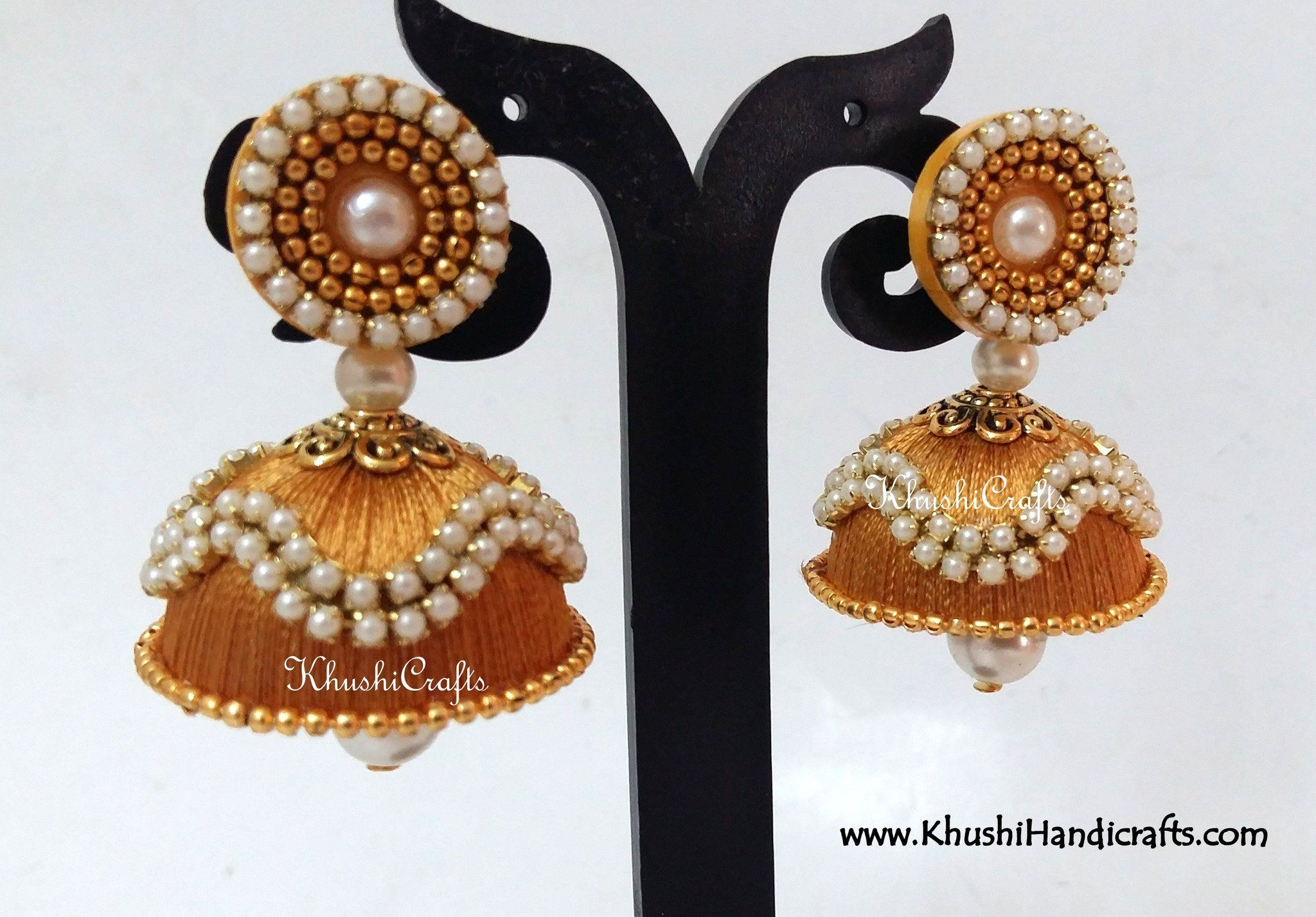 0b87a9ace Silk Jhumkas with Pearl work | Silk thread Jhumkas | Silk thread ...