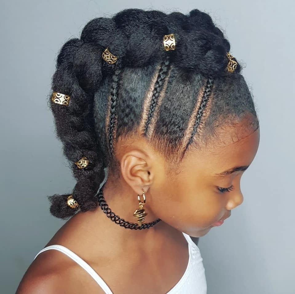 Braided mohawk hairstyle for kinky haired girls hairstyles