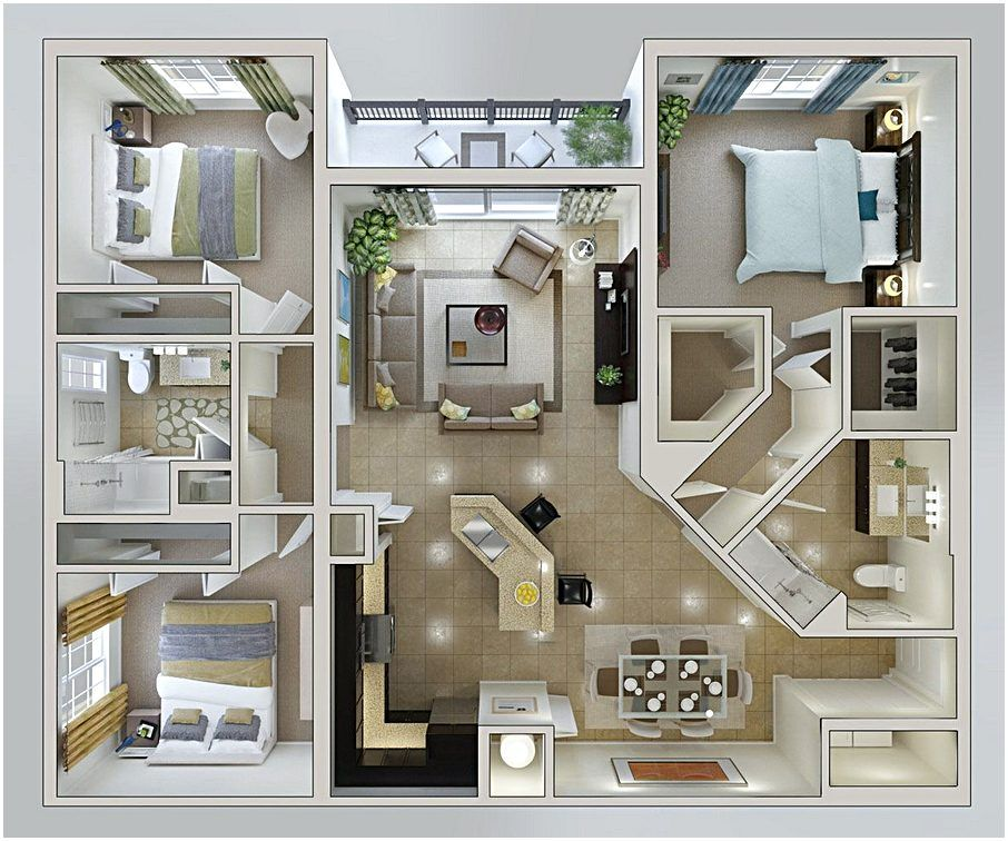 Small Bedroom Layout 3d House Plans House Plans Apartment Floor Plan