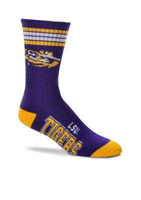 FBF Originals Medium Purple LSU Tigers  4 Stripe Deuce Performance Crew Socks - Single Pair