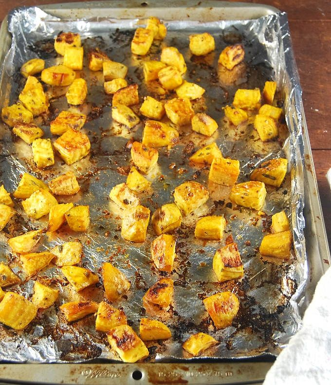 Roasted Golden Beets with Rosemary and Garlic. The herbs and garlic enhance the sweetness and flavor of these delicious beets.