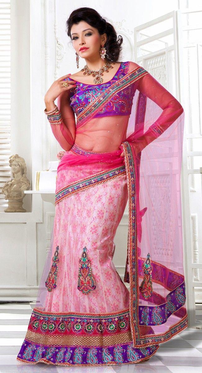Alluring Off White & Pink Lehenga Choli