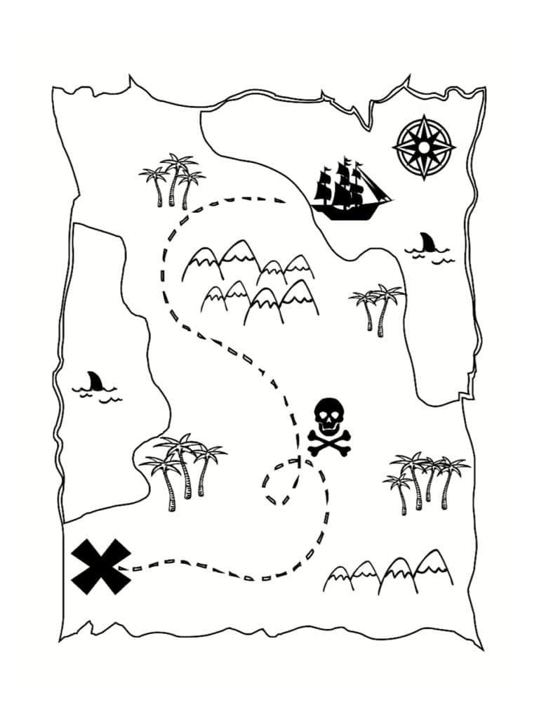 coloriage carte au trésor Coloriage carte au trésor : dessins à imprimer gratuitement en