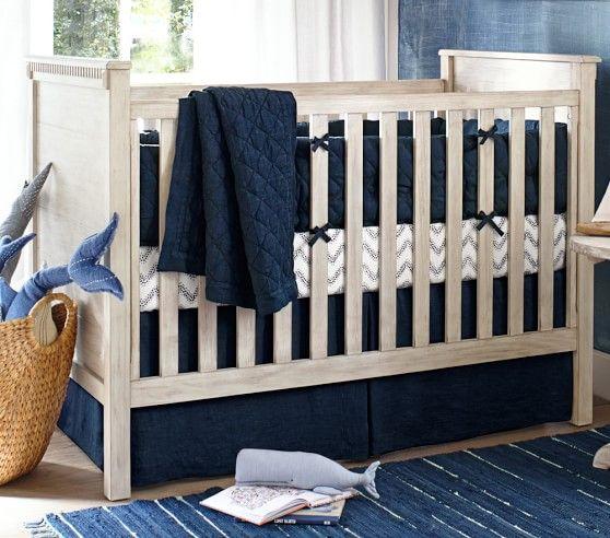 Nwt Pottery Barn Kids Belgian Linen Flax White Nursery Bumper Pad Crib Nursery Bedding Sets