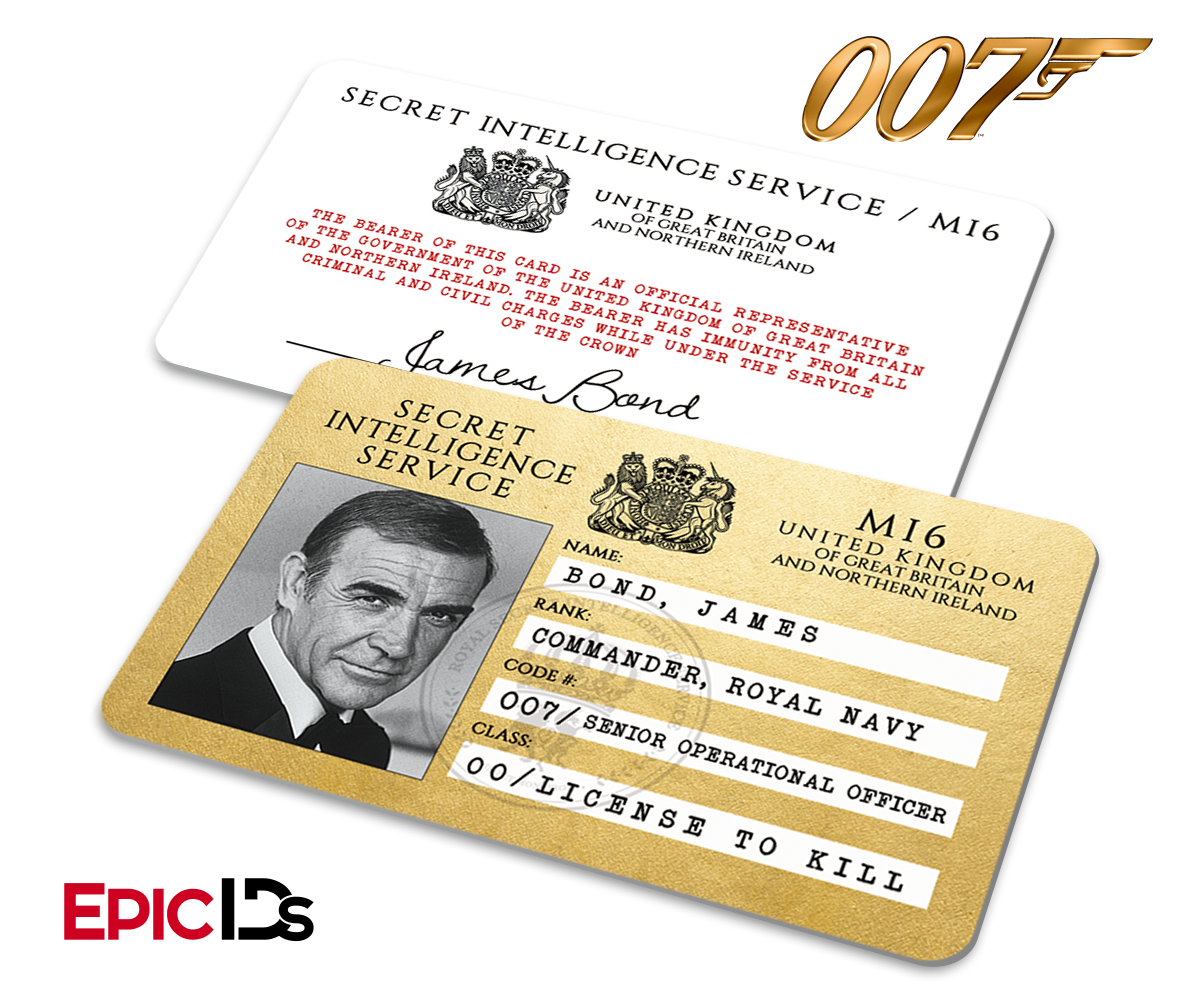 James Bond Inspired (Sean Connery) Secret Intelligence Service ID