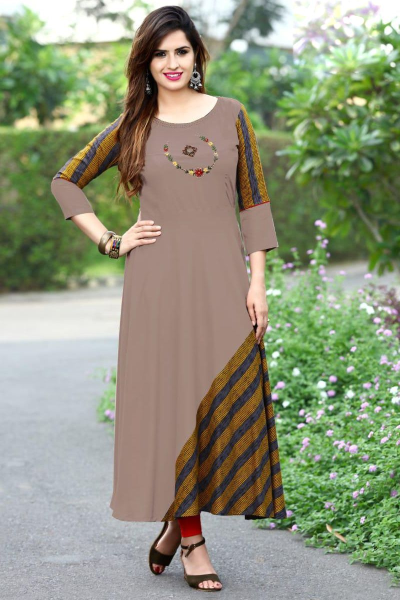 Brown Rayon Simple Embroidered Event Wear Full Length Gown Style Kurthi Catalog No : 770 ...