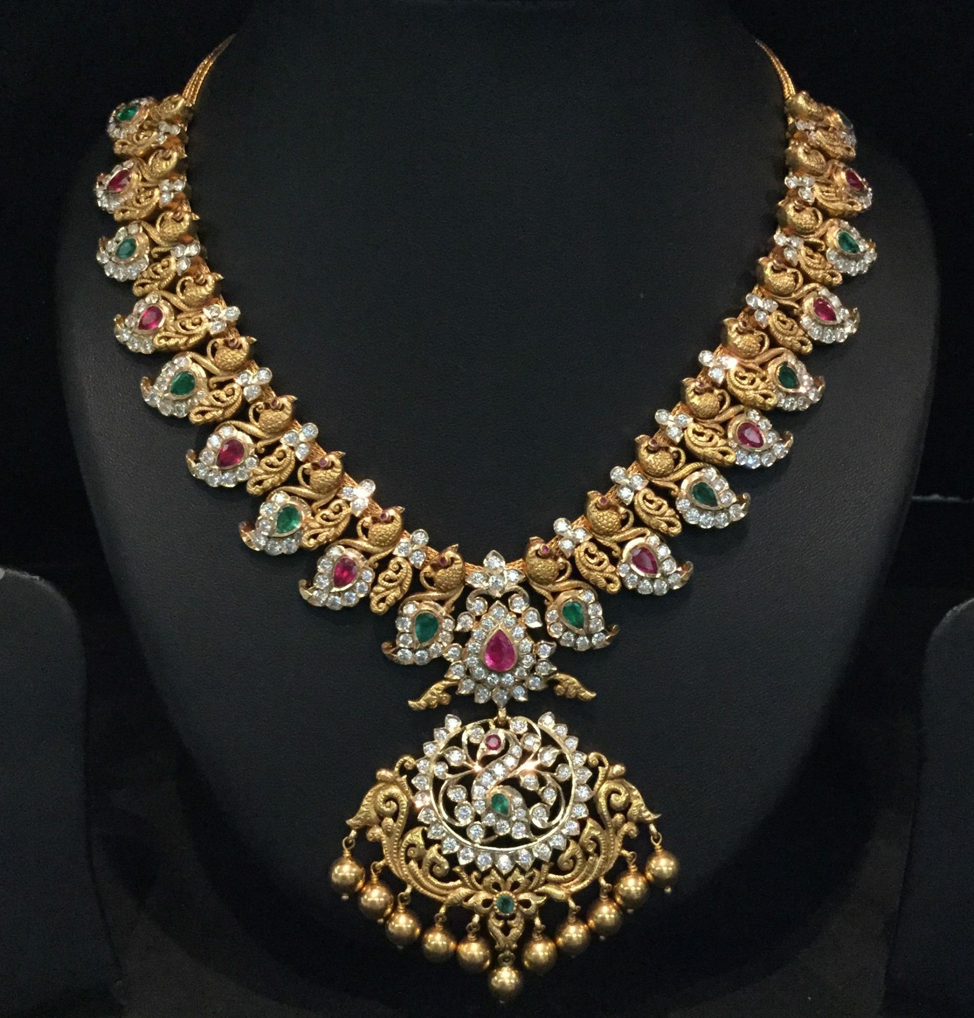 musaddilal diamond set south indian necklace india jewels bridal