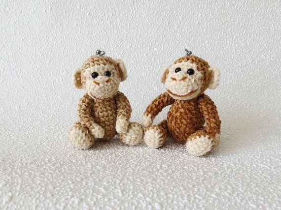Little Monkey Amigurumi Monkey Crochet Keychain Charm Kawaii