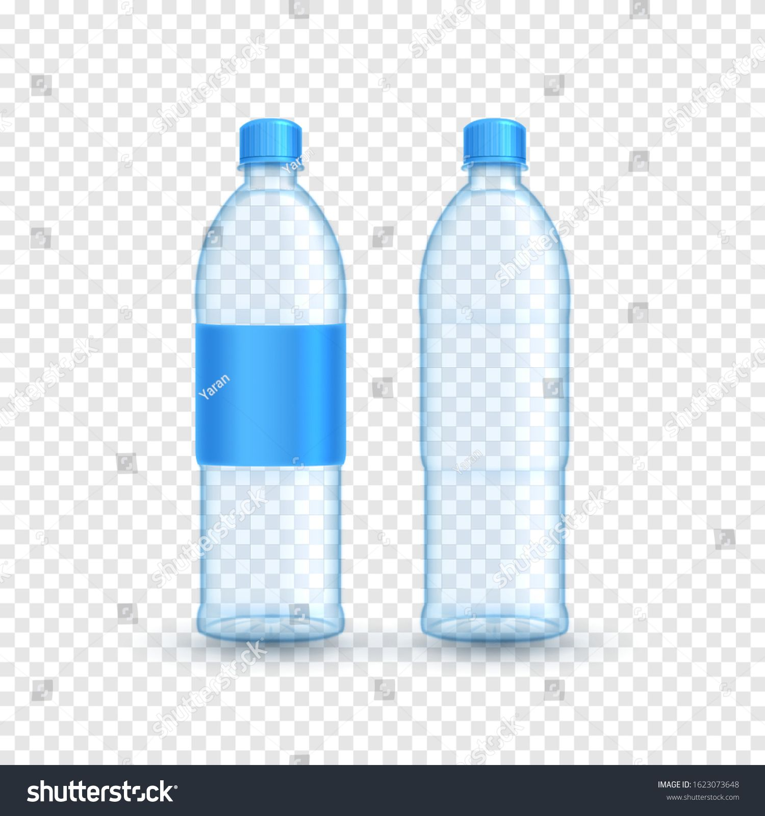 Realistic Plastic Bottle Templates Vector Illustration With 3d Transparent Bottle With Water And Blue Blank Gray Background Blank Stickers Illustration Design