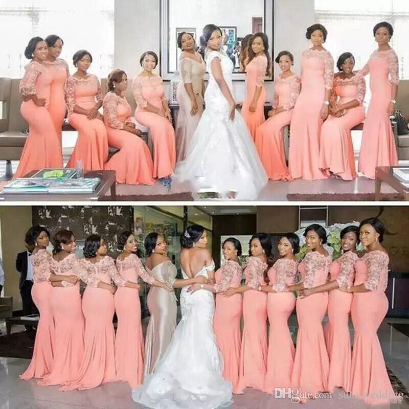 2018 New Arabic African Bridesmaid Dresses Coral Peach Blush Sleeves ...