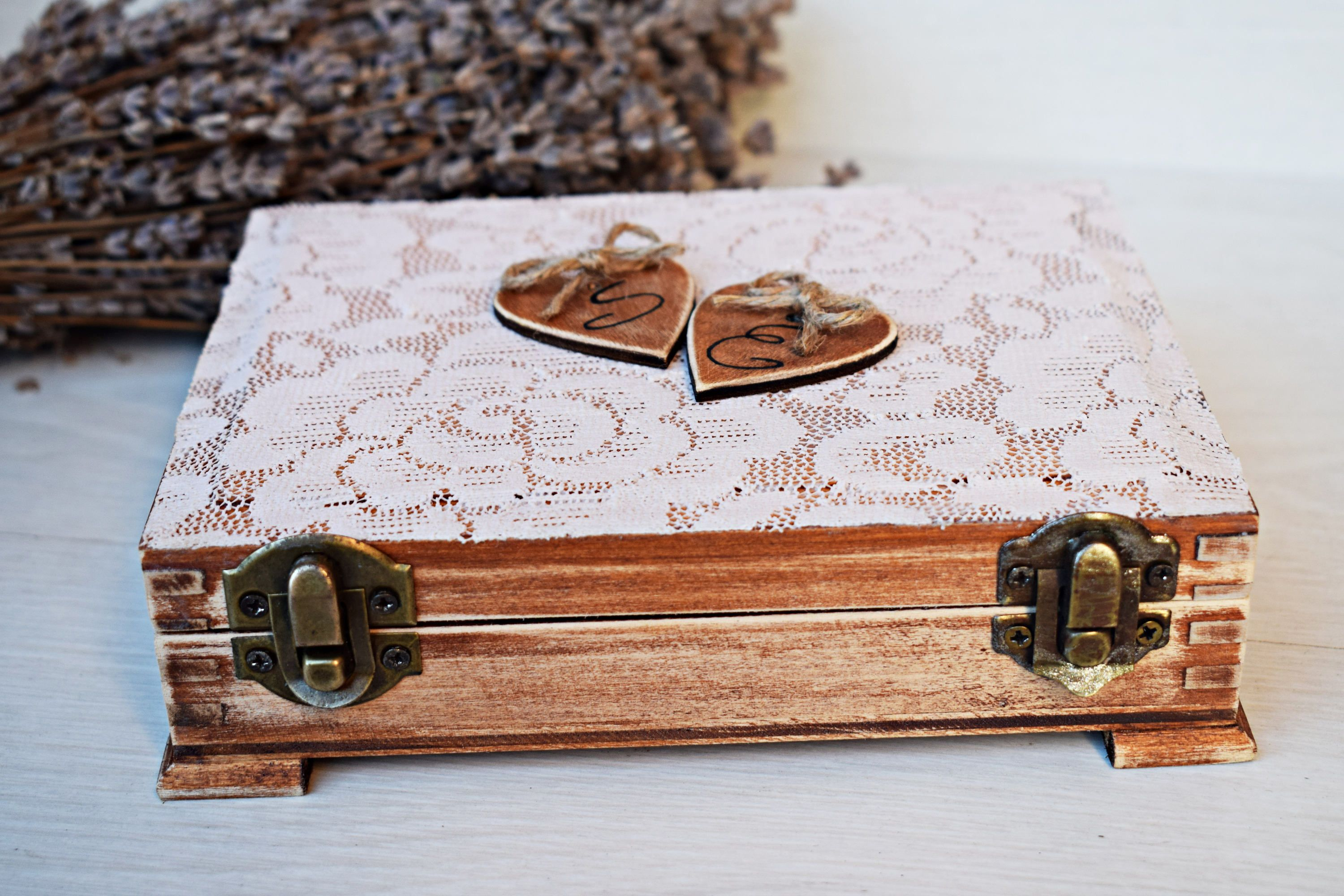 Double Bearer Wedding Ring Box Double Ring Box Lace Pillow Box