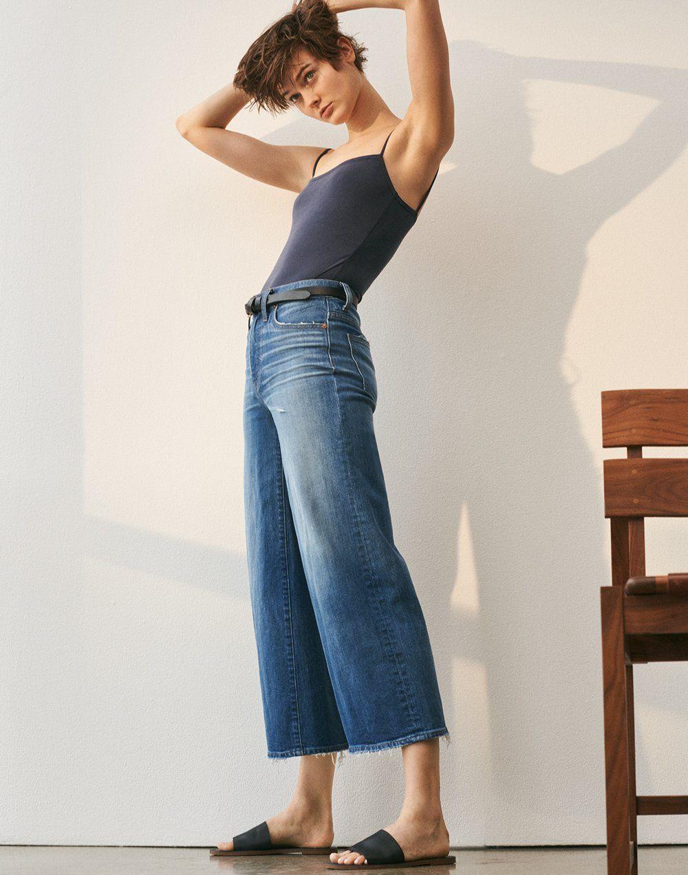 0f4f841ec23 madewell wide-leg crop jeans worn with sandwashed cami bodysuit ...