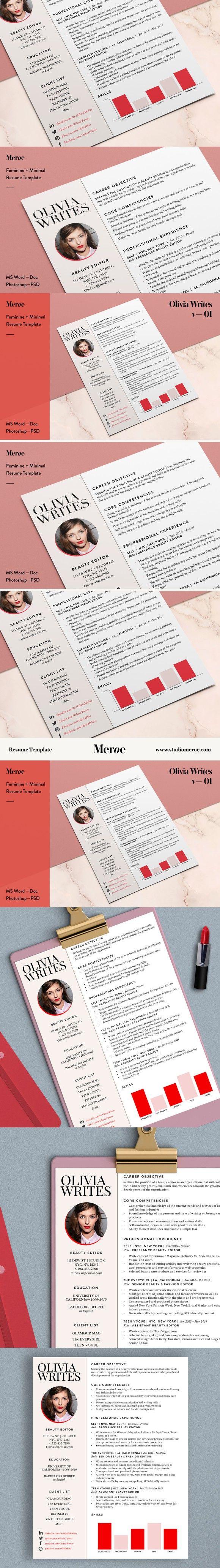 SALE - Olivia Resume / CV - 10% off   Resume Templates   Resume ...