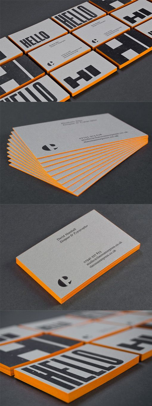 Bold Typography On An Edge Painted Letterpress Business Card For A - Letterpress Business Card
