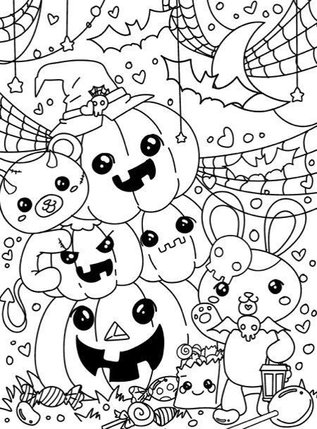 kawaii halloween coloring pages - photo#12