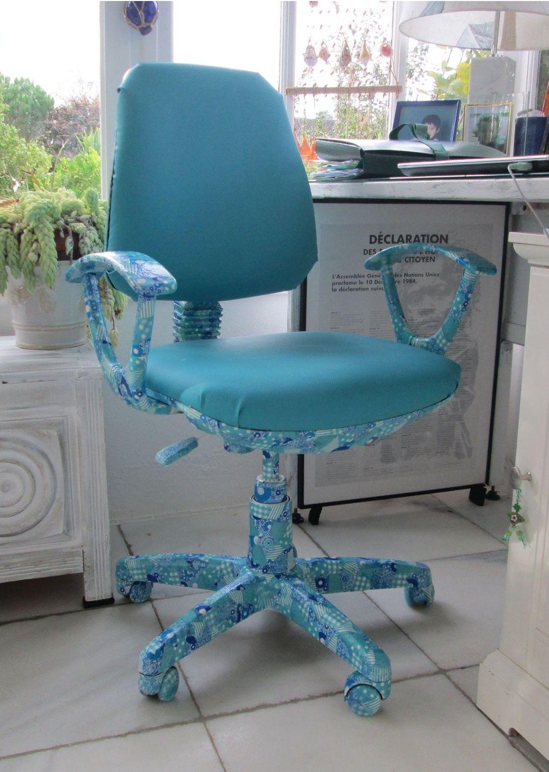 Décopatch35 Chaise Bureau Relookée À Du Tissu Et De Grâce WEIYHe92Db