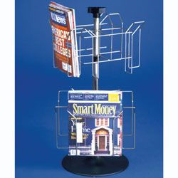 Rotating Wire Magazine Rack W Sign Clip Countertop 8 Pockets