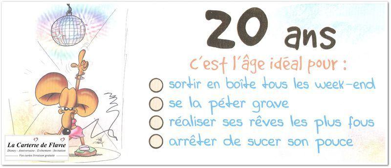 carte anniversaire 20 ans fille