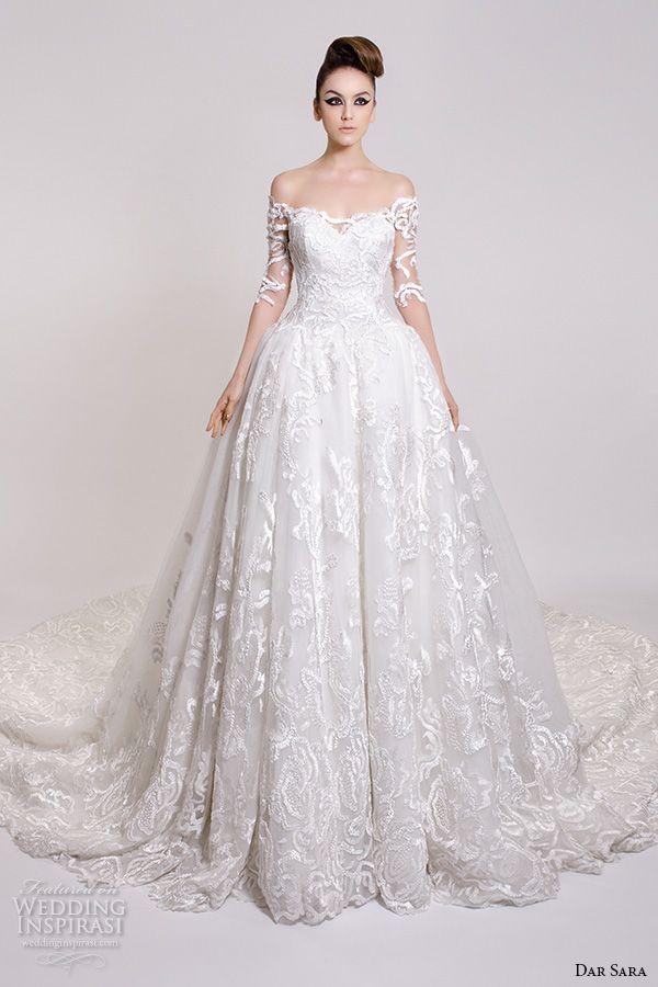 Dar Sara Bridal 2016 Wedding Pretty Ball Gown Off The Shoulder Half Filigree Sleeves Sweetheart