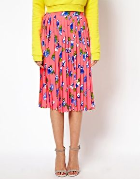 Pleated Midi Skirt in Floral Print | Print..., Skirts and Pleated ...