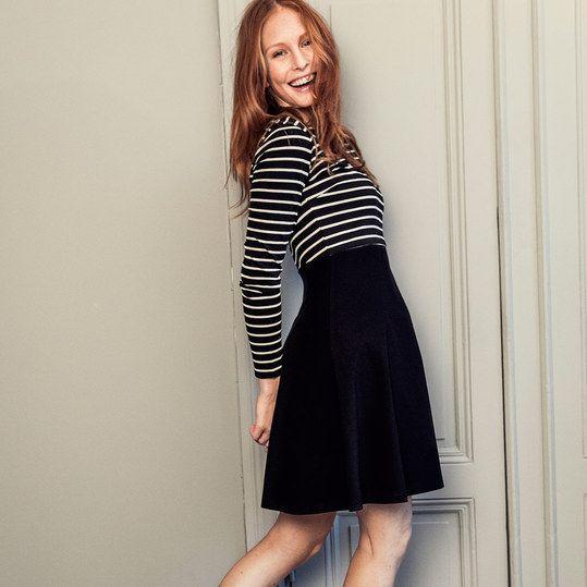 boob Kleid Bio-Baumwolle Langarm - Streifen Schwarz Weiß - Gr. S ...