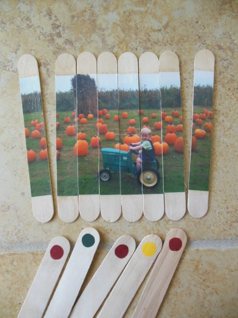 "Craft stick photo ""puzzles"""