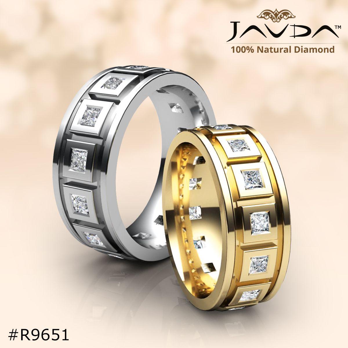 Fanciable men's eternity and half diamond weddingband made
