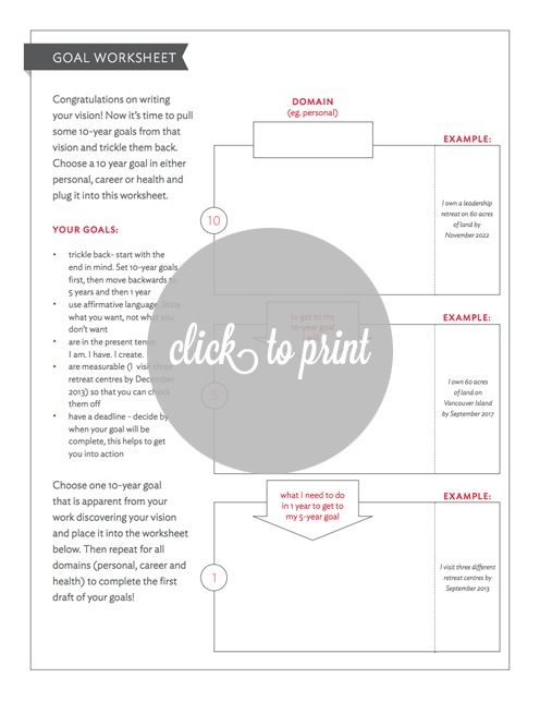 Use this amazing worksheet to fill out your goals with your new ...