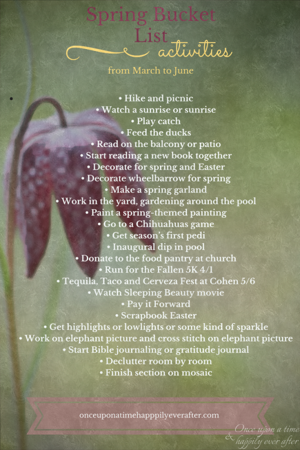 25 Activities on My Spring Bucket List