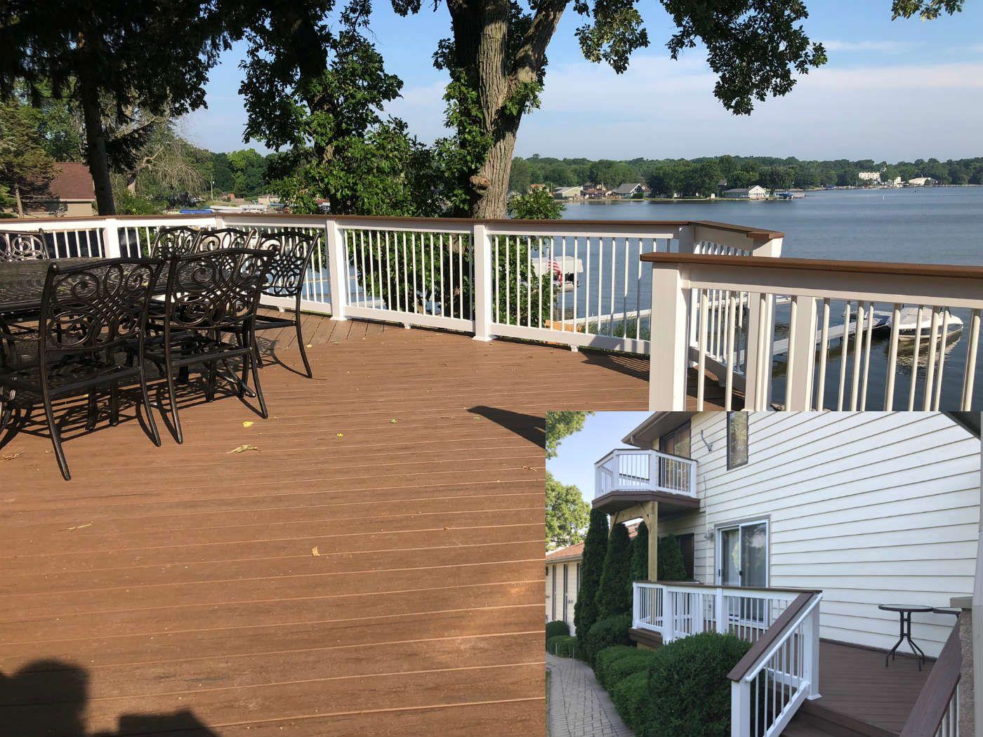 Timber Tech Deck In Brown Oak With Vinyl Railing Deck Builders Timbertech Deck