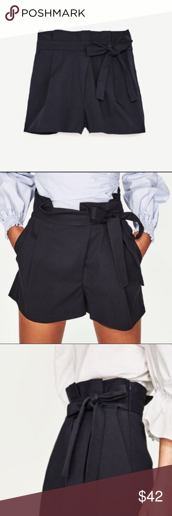 11f1262c ZARA Black Bermuda Pleated Bow High Waist Shorts Mini, Mid-Rise Bermuda  short with side zip fastening, pleated Details. Matching bow at the waist.