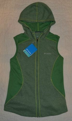 Womens Columbia Hiking Sports Vest Omni Wick Green $55 Hoodie Zip Front Sz M | eBay