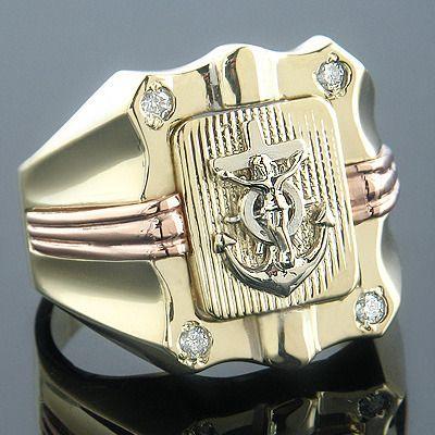 Anchor Nautical Jewelry 14K Gold Mens Diamond Ring 010 Nautical