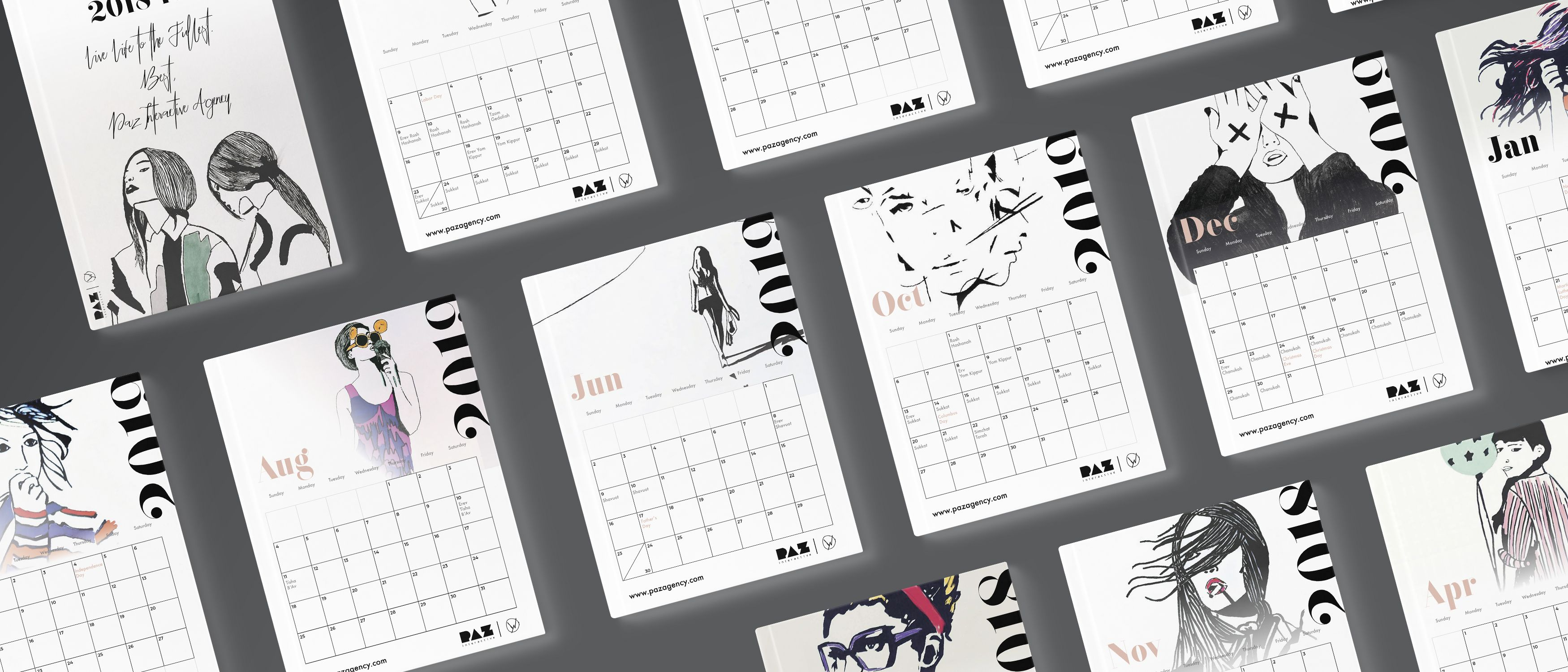 Fashion illustrated printable calendar 2018-2019 (Including