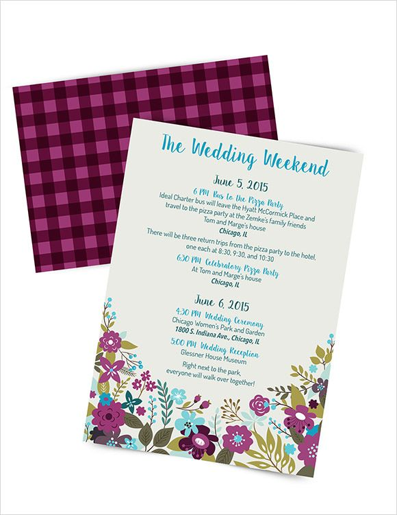 Sample Wedding Weekend Itinerary Template   Documents In Pdf