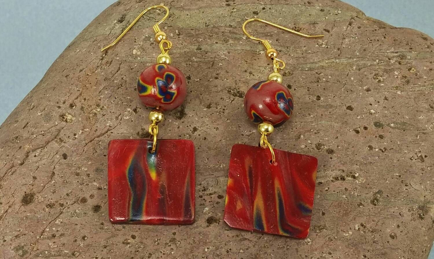 Red, Yellow and Blue Bead earrings - Item #E1049 - Polymer Clay Earrings - pinned by pin4etsy.com #etsymnttgfher #etsymnttgu20