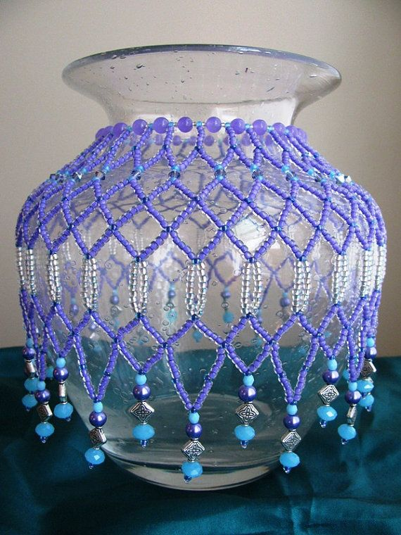 Lilac Opaque Turquoise Beaded Vaselamp Cover Lamp Cover
