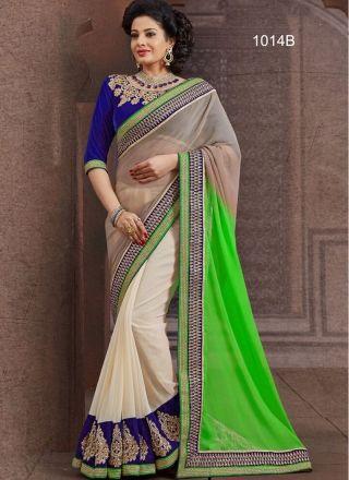 Green And Grey With White Designer Chiffon Saree#sarees  http://www.angelnx.com/Sarees/Designer-Sarees