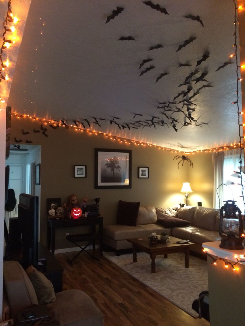 Bats and a spider to complete our Halloween decor Halloween - Halloween House Decoration