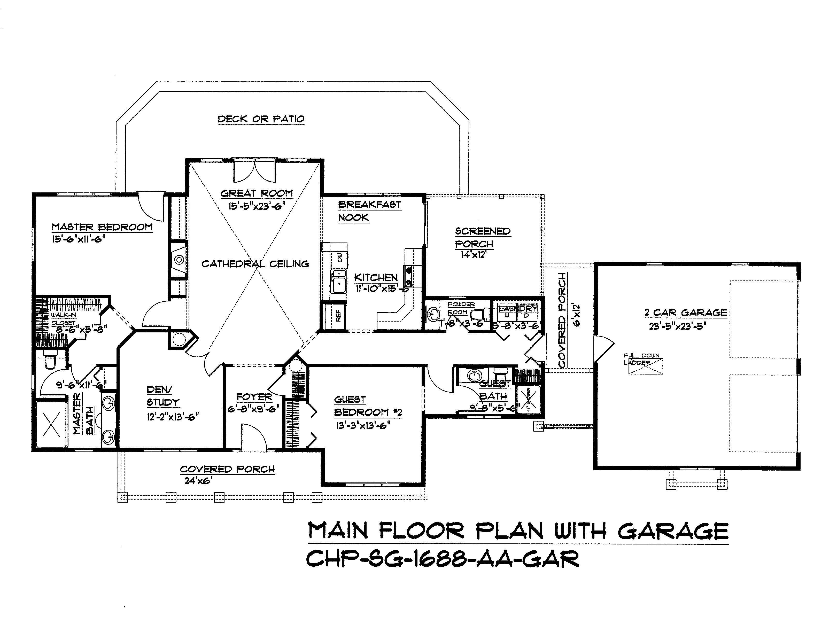 Split Bedroom, Dual Master Suite Floor Plan SG-1688-AA By