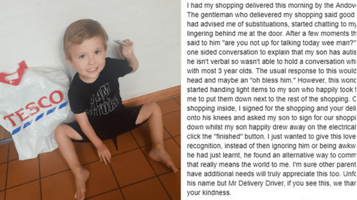 Thanking the delivery man